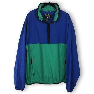 Eddie Bauer Blue Green Pullover Windbreaker Nylon